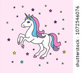 vector cartoon cute unicorn... | Shutterstock .eps vector #1072546076