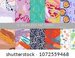 collection of seamless patterns.... | Shutterstock .eps vector #1072559468