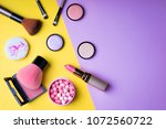 makeup products and decorative... | Shutterstock . vector #1072560722