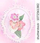 flowers in wight vintage frame... | Shutterstock . vector #1072561382