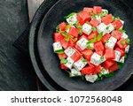 summer salad of watermelon feta ...   Shutterstock . vector #1072568048