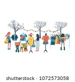 women shopping in the clothes... | Shutterstock .eps vector #1072573058