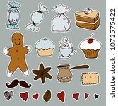 hand drawn tea time  stickers... | Shutterstock . vector #1072575422