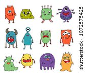 set of stickers with monsters | Shutterstock . vector #1072575425