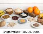 carbohydrates  different plates | Shutterstock . vector #1072578086