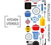 vector flat style kitchen... | Shutterstock .eps vector #1072579106