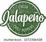 fresh jalapeno chili peppers | Shutterstock .eps vector #1072586438