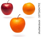 Small photo of Normal apple, orange and apple with orange peel. Abnormality concept
