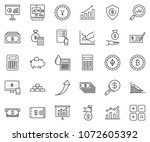 thin line icon set   piggybank... | Shutterstock .eps vector #1072605392