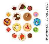 dessert top view detailed icons ... | Shutterstock .eps vector #1072621412