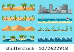 a set of pixel seamless element ... | Shutterstock .eps vector #1072622918