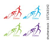 vector triathlon symbol set | Shutterstock .eps vector #107263142