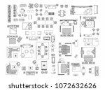 top view of set furniture... | Shutterstock .eps vector #1072632626