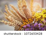 still life with wheat ears  dry ... | Shutterstock . vector #1072653428