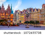 Wroclaw, Poland, market square early in the morning. Colorful cities concept. Travel Europe.