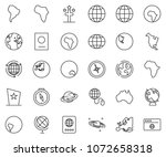 thin line icon set   around the ... | Shutterstock .eps vector #1072658318