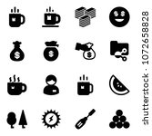 solid vector icon set   tea...