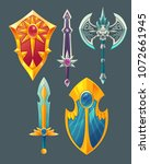 vector set of fantasy items ... | Shutterstock .eps vector #1072661945
