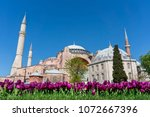 hagia sophia with tulips on... | Shutterstock . vector #1072667396