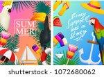 nautical summer cards. marine... | Shutterstock .eps vector #1072680062