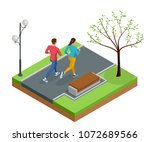 isometric young woman and man... | Shutterstock . vector #1072689566