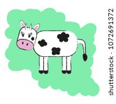 isolated hand drawn cow....   Shutterstock .eps vector #1072691372