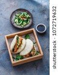 bao bun with pork belly ...   Shutterstock . vector #1072719632