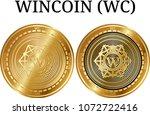 set of physical golden coin... | Shutterstock .eps vector #1072722416