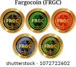 set of physical golden coin... | Shutterstock .eps vector #1072722602