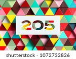 paper cut number 205 on the... | Shutterstock . vector #1072732826