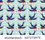 old school pattern with birds... | Shutterstock .eps vector #107273975