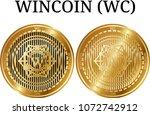 set of physical golden coin... | Shutterstock .eps vector #1072742912