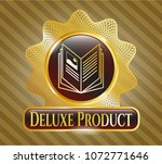 gold shiny badge with book... | Shutterstock .eps vector #1072771646