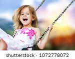 little child blond girl having... | Shutterstock . vector #1072778072