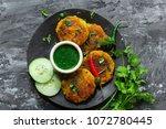 aloo tikki   indian snack... | Shutterstock . vector #1072780445