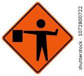 flaggers in road ahead warning... | Shutterstock .eps vector #1072800722