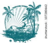 Tropical Grunge Rubber Stamp...