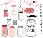 glass jars  frames and cute... | Shutterstock .eps vector #107281322