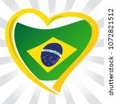 brazil flag in shape of heart | Shutterstock .eps vector #1072821512