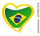brazil flag in shape of heart | Shutterstock .eps vector #1072821515