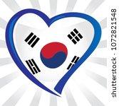 south korea flag  in shape of... | Shutterstock .eps vector #1072821548