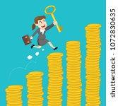 businesswoman holding a key... | Shutterstock .eps vector #1072830635