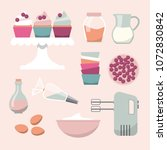 cupcakes ingredients and... | Shutterstock .eps vector #1072830842