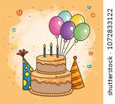 happy birthday card with sweet... | Shutterstock .eps vector #1072833122