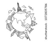 hand drawn sight seeing and landmark around the world. doodle black and white background. | Shutterstock vector #1072835786