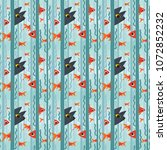 seamless pattern. curious kitty ... | Shutterstock .eps vector #1072852232