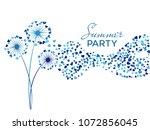 blue on white vector dandelion... | Shutterstock .eps vector #1072856045