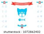 cat with fish skeleton   Shutterstock .eps vector #1072862402