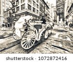 fast moving horse carriage in... | Shutterstock . vector #1072872416