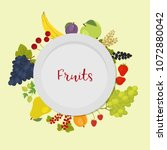 a plate surrounded by fruits...   Shutterstock .eps vector #1072880042